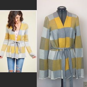 ModCloth Yellow, Gray Cardigan drape front and tie